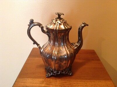 Antique 1800's Reed and Barton silverplate etched tea coffee pot