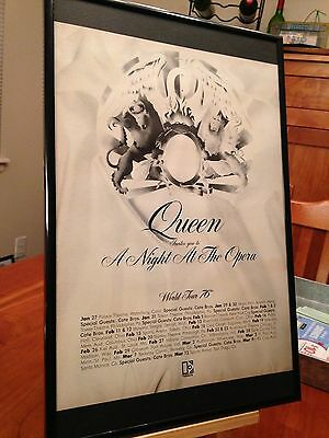 "2 Big 11X17 Framed Queen ""a Night At The Opera"" Lp Cd Promo Ads - '76 Tour Dates"