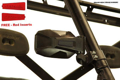 """Seizmik Strike Side View Mirror - 2"""" Clamp with Red Inserts 18092"""
