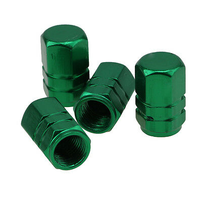 4x Aluminum Tire Wheel Rims Stem Air Valve Caps Tyre Cover Car Truck Bike Green