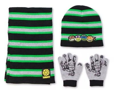 NWT Boys Nickelodeon Teenage Mutant Ninja Turtles Hat, Glove & Scarf Set