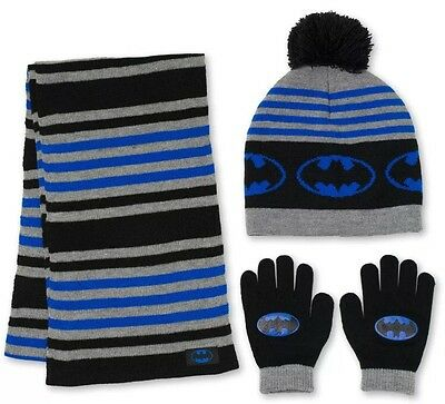 NWT Boys DC Comics BATMAN Blue, Black & Gray Hat, Glove & Scarf Set