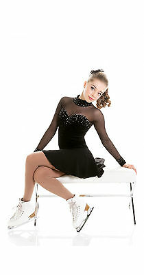 New Competition Skating Dress Signature Xpression Black Crystal Adult Small