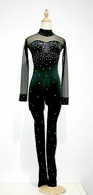 New Competition Skating Catsuit Signature Xpression Black Crystal Adult X-Small