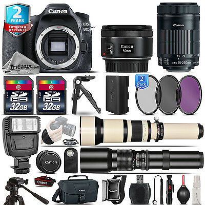 Canon EOS 80D DSLR Camera + 50mm 1.8 + 55-250mm IS STM + 2yr Warranty -64GB Kit