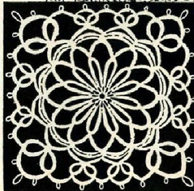 """1950s Tatting PATTERN 5012 Bowknot Medallion 3 3/4"""" square for Tablecloth Doily"""