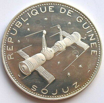 Guinea 1970 Spacecraft Soyuz 250 Francs Silver Coin,Proof