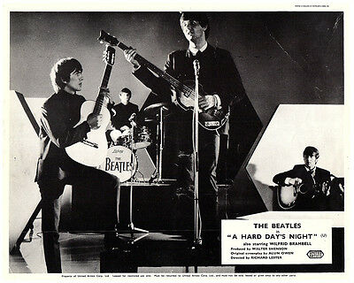 A Hard Day's Night rare original lobby card The Beatles playing on sound stage