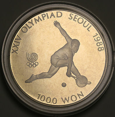 1987 Korea-South 1000 Won KM# 47 Proof Coin Seoul Olympics Tennis