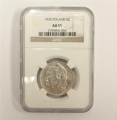 1935 Poland 5 Zloty silver coin NGC AU55