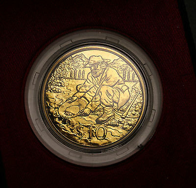 1995 New Zealand $10  KM# 104 Gold Prospecting BU Coin 7000 Minted