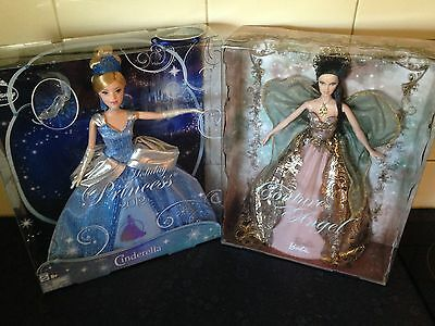 New In Box Holiday Disney Princess Cinderella 2012 & Couture Angel Barbie Dolls