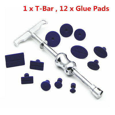 Car Body Paintless Dent Repair Removal Tool Kit Puller Lifter T-Bar with 12 Tabs