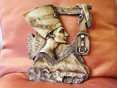 Large Amazing Hand Carved Antique Egyptian Wall Plaque Ancient Queen Cleopatra