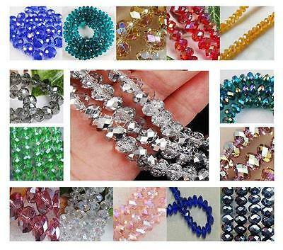 New Chic DIY Faceted Rondelle Bicone Glass Crystals Jewelley Beads 4mm 6mm 8MM