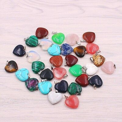 Wholesale lot Fashion Natural heart Gemstone stone Silver P Beads Pendants 20mm