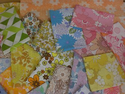 Vintage Retro 60's - 70's - Fabric Squares-Quilting-patchwork-Remnants