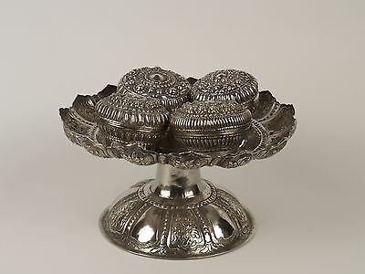 A 19th c. Thai Silver Toh Offerings / Betel Tazza & Silver Boxes.