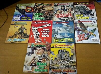 Job Lot Of 10 Commando Comics - Good Condition -