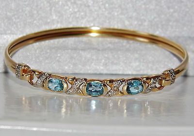 Beautiful 9 Ct Yellow Gold Aqua Blue Topaz & Diamond Ladies Bangle