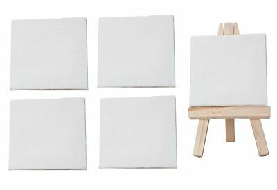 4 Plain Mini Artist Canvas Acrylic/oil Paint 7Cmx7Cm Drawing Sketch Board
