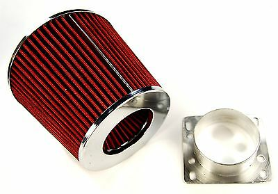 "BMW 318i E30 E36 84-91 AIR FILTER INDUCTION KIT 3"" ALLOY MAF INTAKE ADAPTER RED"