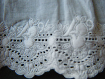 Antique Victorian gathered skirt slip  girl beautiful embroidery &needle lace