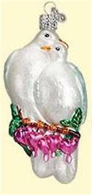 Love Birds Hearts Old World Christmas Glass Wedding Valentine Ornament Nwt 16101
