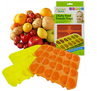 Set of 4 Baby Food Freezer Trays & Lids Weaning Freezing Cubes Pots 48 Portions