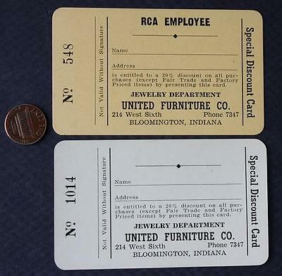 1940s Bloomington,Indiana United Furniture & RCA employee 2 business card set!