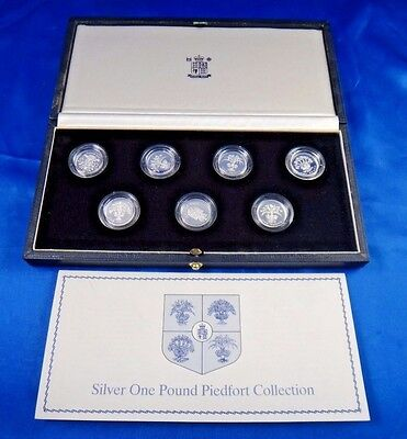 1983-1989 United Kingdom Silver Piedfort 7 Coin Proof Set Collection Box COA