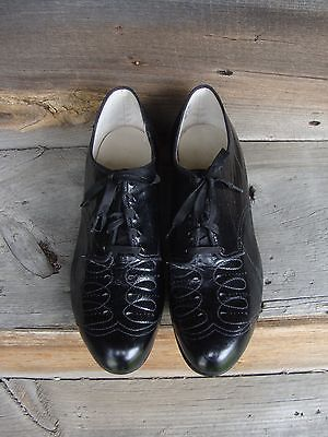 Vtg 1940's or 50's Black Leather Lace Up Oxford Shoes * Size 7 EEE * Unworn!
