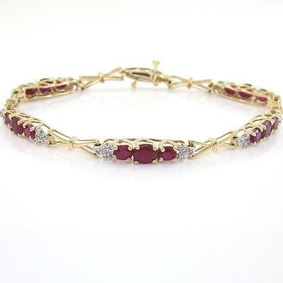 """Solid 10K Yellow Gold Natural Ruby Diamond Link Bracelet 7.25"""" ZQ2"""
