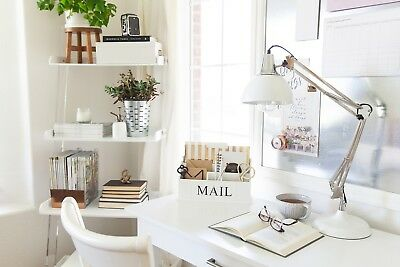 3 Tier White Wood Office Supplies Desk Organizer Letter Mail File Folder Pen