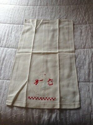 Antique hand embroidered Terrier dog hand towel