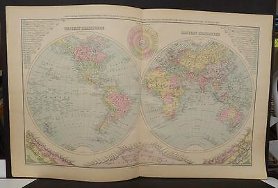 World Map Hemispheres Frank Gray  1899 Double Page  J9#17