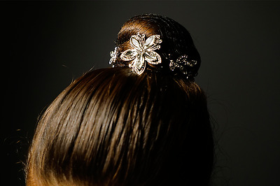 New Hair Jewelry Rhinestones Bun Wraps Flowers 8 inches long Children Size