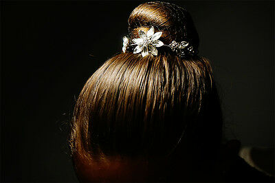 New Hair Jewelry Rhinestones Bun Wraps Flowers 10 inches long Adult Size