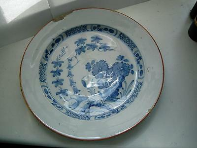 30cm English Liverpool Delft pottery Charger Blue & white Chinese design 18thC