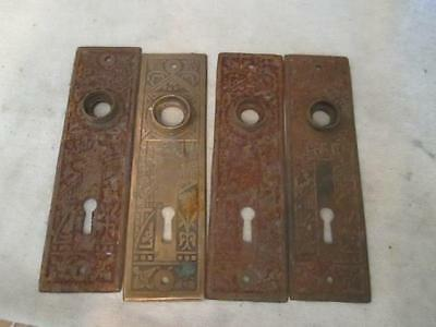 Antique Brass & Cast Iron Eastlake 4 Door Knob Escutcheon Back Plates ks2