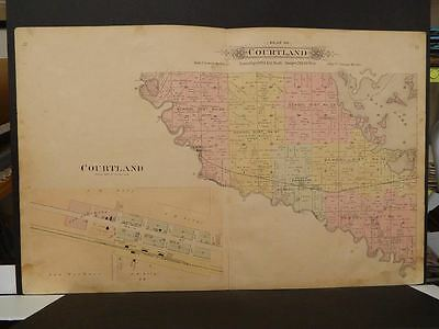Minnesota Nicollet County Map Courtland Township Double Side/Pg  1899  J9#27