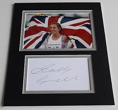Sally Gunnell Signed Autograph 10x8 photo display Olympic Hurdles AFTAL COA