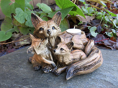 FOX Mom and Cubs FIGURINE resin animal T lite holder COUNTRYSIDE SMART SLY NEW
