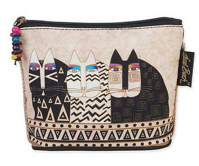 New LAUREL BURCH Cosmetic Bag BLACK CREAM CAT Kitten Art JEWELRY CASE Pouch