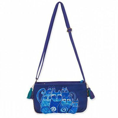 LAUREL BURCH Crossbody Bag BLUE CATS KITTEN Feline Shoulder Purse Tassel Denim