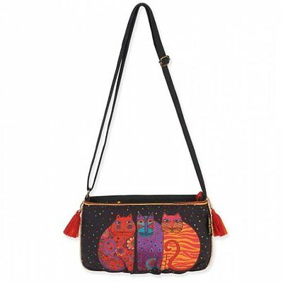 LAUREL BURCH Crossbody Bag CATS KITTEN Feline Shoulder Purse Tassel BLACK ORANGE