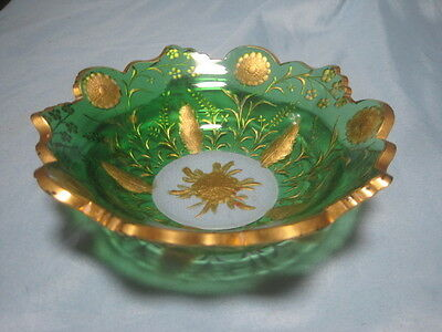 """Antique Green Glass Gold Gilt Candy Dish Bowl 6"""" x 2"""" SPECTACULAR check out pics"""