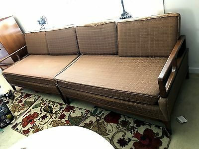 3 Pcs Vintage MCM Hickory Chair Company Walnut Lounge Chair & 2-Piece Sectional