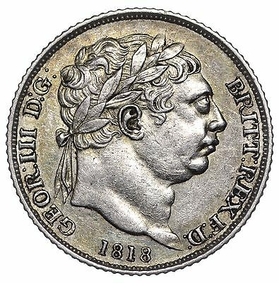 1818 Sixpence - George Iii British Silver Coin - V Nice