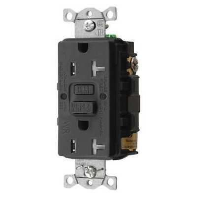 HUBBELL WIRING DEVICE-KELLEMS GFTWRST20BK GFCI Receptacle,20A,125VAC,5-20R,Black